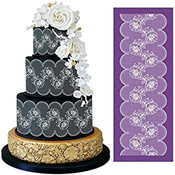 ART Kitchenware Floral Mesh Cake Stencils Rose Flower Cake Lace Stencil Wedding Cake Side Stencils Template Mold Cake Decorating Bakery Tool 19.3