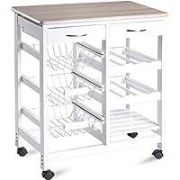 "Merax WF036470KAA Island Kitchen Cart 26 Portable Storage Trolley Drawers, 26.4""L x 14.7""W x 33.1""H, White"