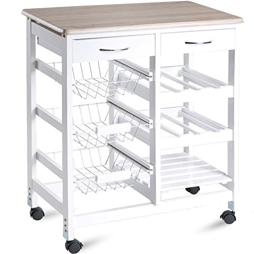 "Merax WF036470KAA Island Kitchen Cart 26'' Portable Storage Trolley Drawers, 26.4""L x 14.7""W x 33.1""H, White by Merax"