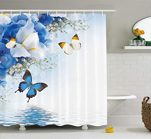 Ambesonne Floral Shower Curtain, Blue and White Wild Flowers with Monarch Butterflies Lily Therapy Spa Art Prints, Cloth Fabric Bathroom Decor Set with Hooks, 84