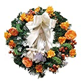iumei Christmas Wreath Garland Merry Christmas Party Bowknot Two Rabbits Flower Poinsettia Pine Door Wall Ornament