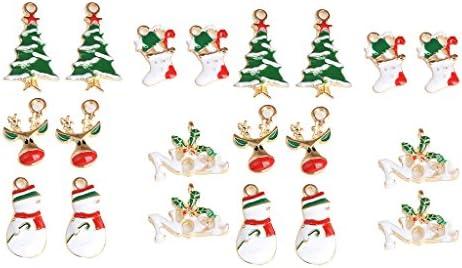 20pc Colored Enamel Mix Christmas Charms Festive Pendants Xmas Ornaments DIY