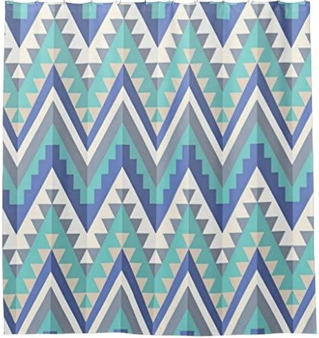 Polyester Chilen Home Fashions Decorative Retro Zigzag Chevron Teal Blue Grey Taupe White Shower Curtain 72-Inch by 72-Inch for Bathroom Shower Hooks are Included Machine Washable