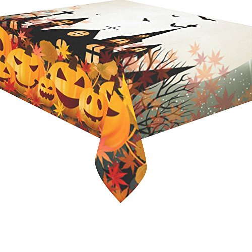 InterestPrint Home Table Decor Happy Halloween Pumpkin Maple Leaf Tablecloth Sets 52 X 70 Inches – Castle Moon Bat Purple Sofa Table Cloth Cover for Dinner Party Decoration