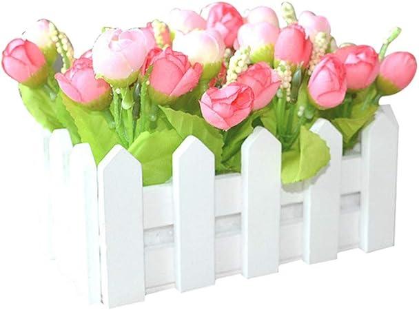 display08 1 Juego de Valla de Madera Blanca Artificial Floral Soporte hogar jardín decoración Manualidades: Amazon.es: Hogar