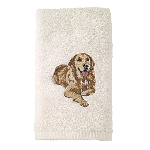 Avanti Linens 021552 Gdn Golden Retriever Hand Towel 2 Pack, Ivory, 2 Piece