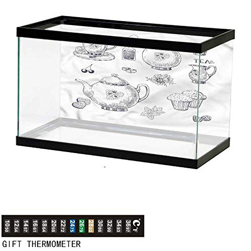 Curved Teapot - bybyhome Fish Tank Backdrop Blue and White,Teapots and Cups,Aquarium Background,30