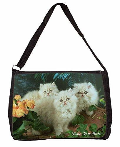 Persian Kittens Love You Mum Large 16 Black School Laptop Shoulder Bag