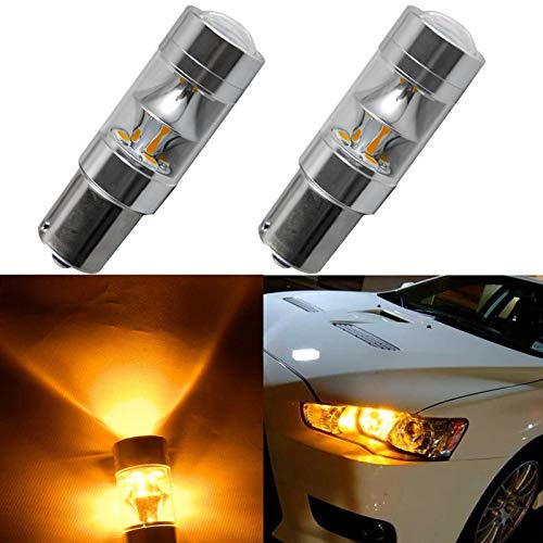 Price comparison product image jdmxpert Super Bright 3000 Lumens 1156 7506 LED Bulb with Projector Lens for Car Turn Signal Brake Tail Lights, Amber Yellow 2pcs