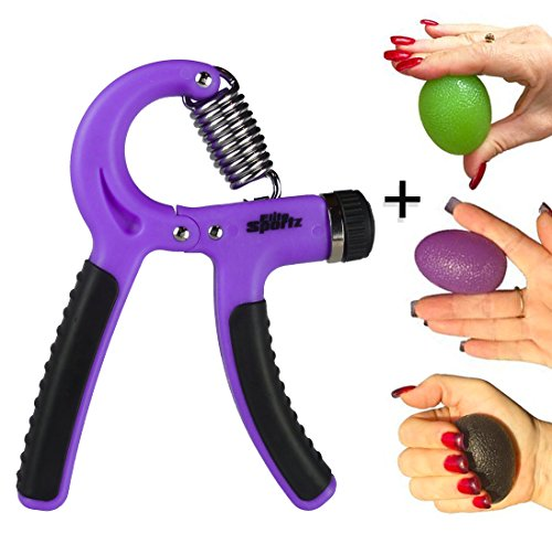 22 Complete Set (Elite Sportz Adjustable Hand Grip Exerciser and 3 Hand Grip Strengthener Balls, Combine to make a Great Grip Strength Trainer Set - Resistance Range of 22lbs to 88lbs (Purple))