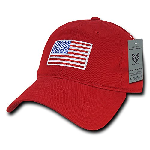American Flag Embroidered Washed Soft Cotton Fitting Cap - RED -