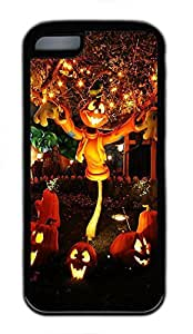 iPhone 5c Case - Fashional Unique Cool Halloween Pumpkin Tree And Cute Little Good Scenery Black Soft Edge Cases