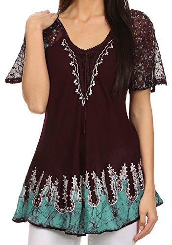 Sakkas 786 - Cora Relaxed Fit Batik Design Embroidery Cap Sleeves Blouse/Top - Burgundy - OS