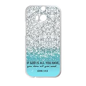 HTC One M8 Case Cover - If God Is All You Have You Have All You Need John 14:8 - Bible Verse Blue Sparkles Glitter HTC One M8 Case Cover TPU Laser Technology Rubber Sides Shell by icecream design