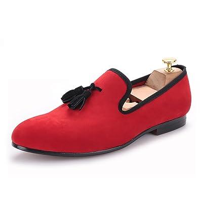 d6cd9f26712bb HI&HANN Exquisite Black Tassel Men's Velvet Loafer Shoes Slip-on Loafer  Round Toes Smoking Slipper