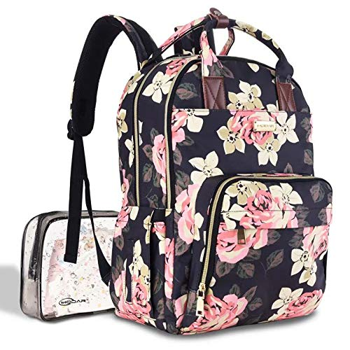 Diaper Bag Backpack, Large Capacity Baby Nappy Bag Muti-Function Travel Wide Open Design for Maternity Mommy Dad, with Notebook Pocket and Independent Wet Cloth Bag from Hodar