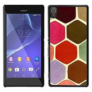 LECELL--Funda protectora / Cubierta / Piel For Sony Xperia T3 -- Escalas en colores pastel tortuga Hexágono Rosa Verde --