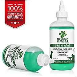 Ear Cleanser For Dogs Plus Tea Tree Oil & Soothing Aloe Vera, Veterinarian Formulated Dog Ear Cleaning Solution Gently Removes Ear Wax and Debris and Reduces Ear Odor, Made in the USA, 8 fl oz