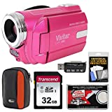 Vivitar DVR-508 HD Digital Video Camera Camcorder (Pink) with 32GB Card + Case + Kit