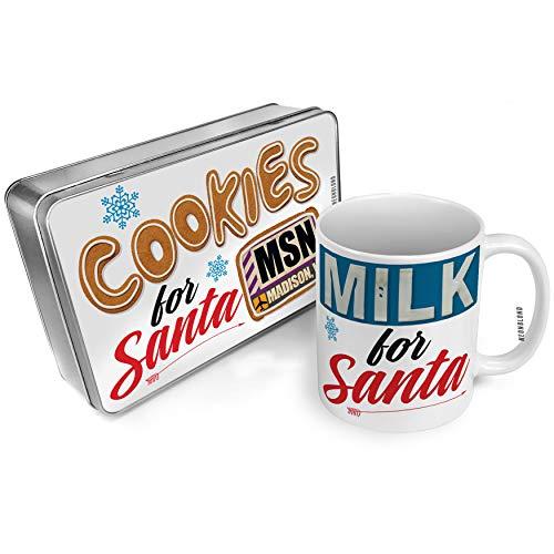 NEONBLOND Cookies and Milk for Santa Set Airportcode MSN Madison, WI Christmas Mug Plate Box -