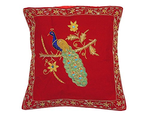 NovaHaat Red Velvet 100% Hand Embroidered Decorative Indian Toss Throw Accent Pillows Cushion COVER with incredible Peacock motif in Gold Metallic Dabka work embroidery, from Uttar Pradesh in North In ()