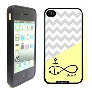 iPhone 4 4S Case ThinShell TPU Case Protective iPhone 4 4S Case Shawnex Lemon grey chevron anchor refuse to sink by Shawnex