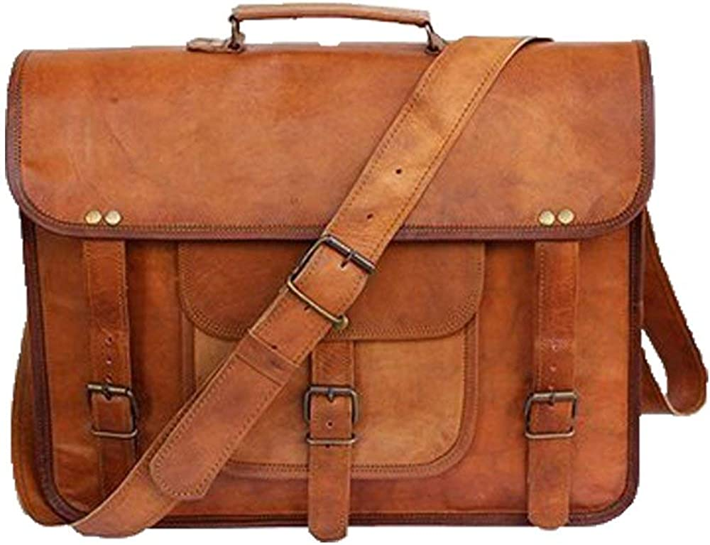 Natural Handicraft Satchel Briefcase Handmade 20 Vintage Goat Leather Laptop Crossbody Shoulder Bag Office Bag College Bag Travel Bag