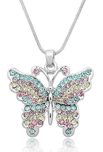 Pretty Pastel Crystal Embellished Butterfly Silver Tone Pendant Necklace for Girls, Teens and Women (Pastel Stripes)