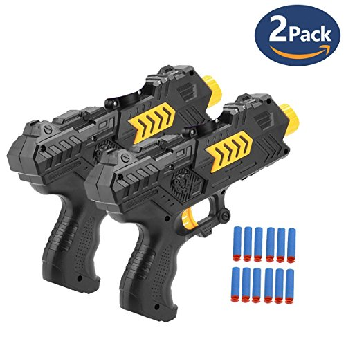 - NeatoTek 2-in-1 Multifunction Foam Toy Blaster Gun Dart Gun for Kids Shooting Gun with 6 PCS Soft EVA Foam Darts for Kids Hand Gun Toy (2 Pack)