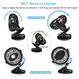 USB Desk Fan Bengoo Table Portable Fan with Clip Feature and 360 Degree Rotation Design, Operated by Rechargeable Battery for Cooling, Baby Stroller, Personal Use, Travelling, Camping, Office, Home