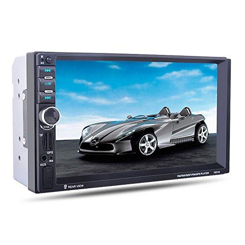 Duoying Reproductor Multimedia Coche MP5 Reproductor 7'Espejo Enlace Bluetooth Volante Control Remoto 2Din Audio Car Stereo
