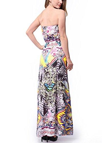 Vestido largo sin tirantes de la flor de Boho de la impresión floral de las mujeres de la playa C0056