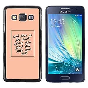 Paccase / SLIM PC / Aliminium Casa Carcasa Funda Case Cover para - Quote Peach Minimalist Text - Samsung Galaxy A3 SM-A300