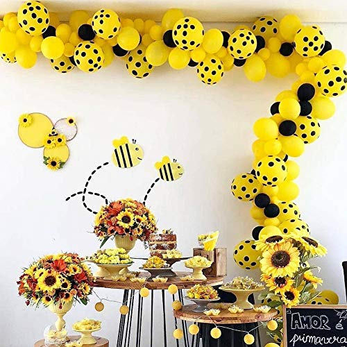 (PartyWoo Bee Balloons, 70 Pcs 10 Inch Yellow Balloons Yellow Polka Dot Balloons Black Balloons Yellow Party Decorations, Bee Decorations for Bee Party, Bee Baby Shower, Bee Birthday Party)