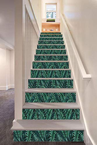 Handle Green Rainforest - Palm Leaf 3D Stair Riser Stickers Removable Wall Murals Stickers,Watercolor Tropical Jungle Leaves Pattern Fresh Rainforest Hawaii Summer Decorative,for Home Decor 39.3