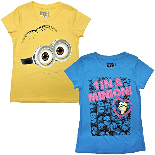 Faces Girls T-shirt (Despicable Me Girls Youth T-Shirts 2-pack 1 in a Minion & Big Face Dave (Medium))