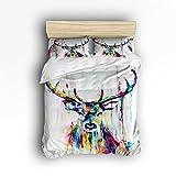 Family Decor Color Deer Print Home Comforter Bedding Sets Duvet Cover Sets Bedspread for Adult Kids,Flat Sheet, Shams Set 4Pieces,4 Pcs Queen Size for Kids Teenage Teens