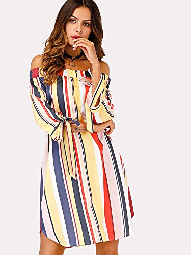 47ce866e8 Milumia Women's Off Shoulder Striped 3/4 Sleeve Knot Cuff Tunic Dress