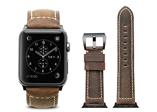 iStrap 24mm Handmade Asso Padded Leather Black PVD Clasp Watch Bands Strap For Apple Watch 42mm Brown