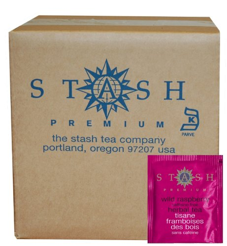 Stash Tea Wild Raspberry Hibiscus Herbal Tea, 100 Count Box of Tea Bags in Foil (packaging may vary)
