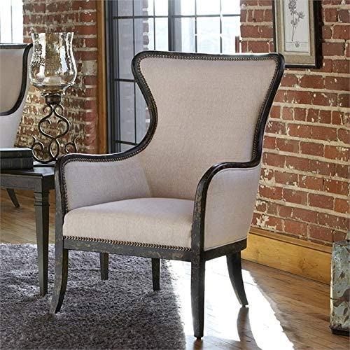 Uttermost Sandy Sandy White Fabric Wingback Arm Chair