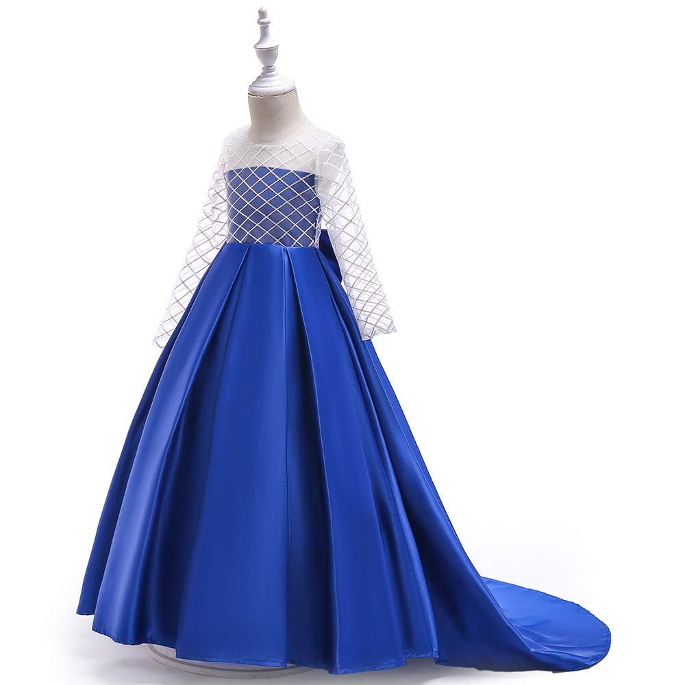 Couleur Bleu 110cm ZSCRL Jupe Robe de Mariage pour Enfants, Jupe Robe de Fille de Fleur Fille de Gaze, Fuite, Robe de fête d'anniversaire