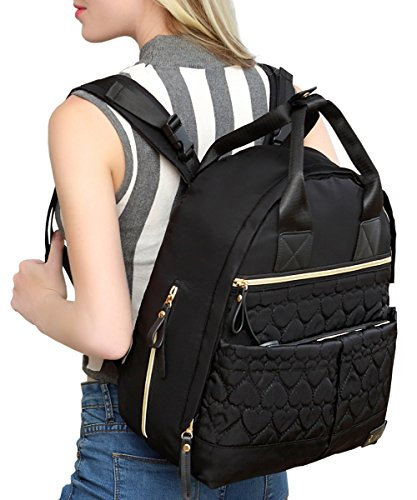 Diaper Bag Backpack, RUVALINO Large Diaper Bag Multifunction Stylish Mom Bookbag for Baby Boy and Girl with Stroller Straps and Changing Pad, Black