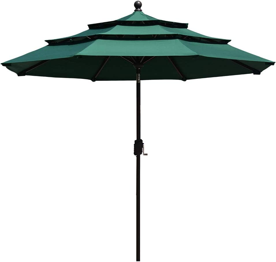 EliteShade Sunbrella 9Ft 3 Tiers Market Umbrella Patio Outdoor Table Umbrella with Ventilation and 5 Years Non-Fading Top,Forest Green