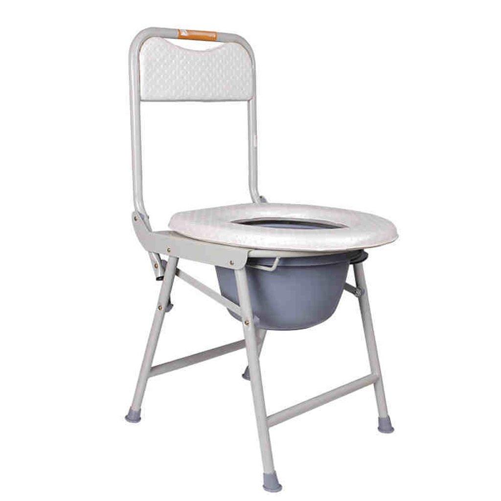 白い快適な障害者の人のトイレシートトイレの椅子の高齢者の人の水浴の便の折りたたみトイレ妊婦の鋼管トイレの椅子Max.120kg B07DJ3HY39