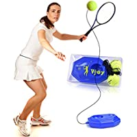 Vjoy® Tennis Ball Trainer, Tennis Base with A Rope Self-study Tennis Rebound Player with Trainer Baseboard + 2 Training Ball