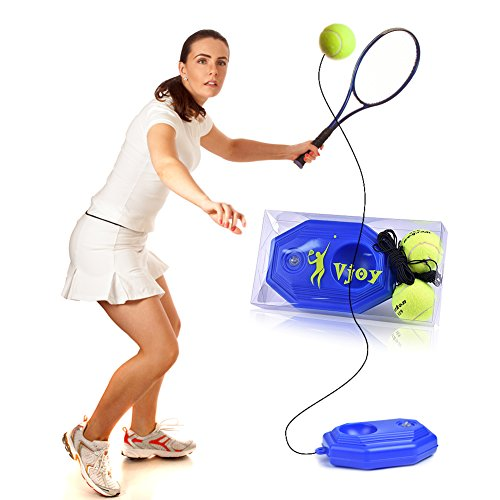 (Tennis Ball Trainer, Vjoy Tennis Base with A Rope Self-study Tennis Rebound Player with Trainer Baseboard + 2 Training Ball)