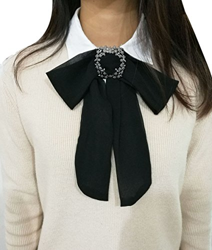 Women Elegant College Bow Ties Long Chiffon Necktie for Uniform Neckties
