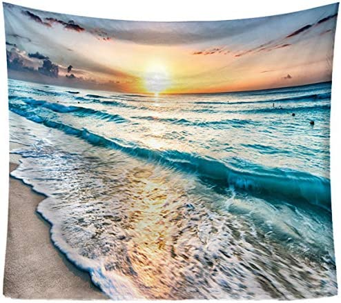 Sandeye Wall Hanging Beach and Sea Waves Tapestry Ocean Wave Micro Fiber Peach Home Decor 6 Ocean Wave, L 59.1 X78.7