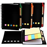 Mtlee 4 Pack Spiral Notebook Kraft Paper Notepad with Pen in Holder and Sticky Notes, Page Marker Colored Index Tabs Flags (Black)